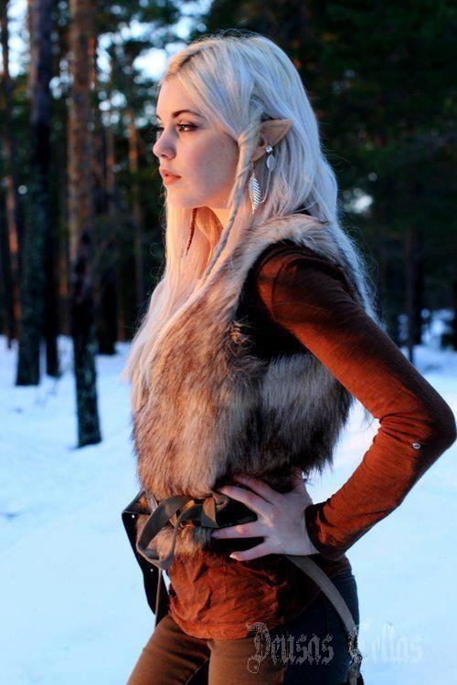 Beautiful, woman, warrior, alf, elfNew Stuff, Elf Costumes, Cosplay Costumes, Fantasy Character, Elf Cosplay, Elves, Costumes Ideas, Winter Dresses, Fur Vest