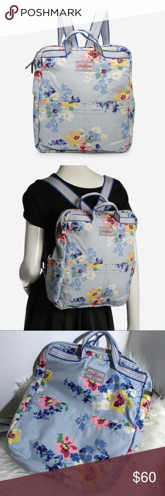 cath kidston • painted posy blue cotton backpack condition: new without tags. Retail: $65   * purchased in London at Harrod's! * Cath Kidston cotton backpack * Painted posy print in cool blue * Grab handles, side pockets, two zipped front pockets, one internal zipped pocket, two internal slip pockets * Zip fastening, adjustable shoulder straps * Dimensions: 35 x 30 x 12 cm    NO TRADES  trusted seller for years • ships quickly great feedback • REASONABLE offers welcome Cath Kidston Bags…