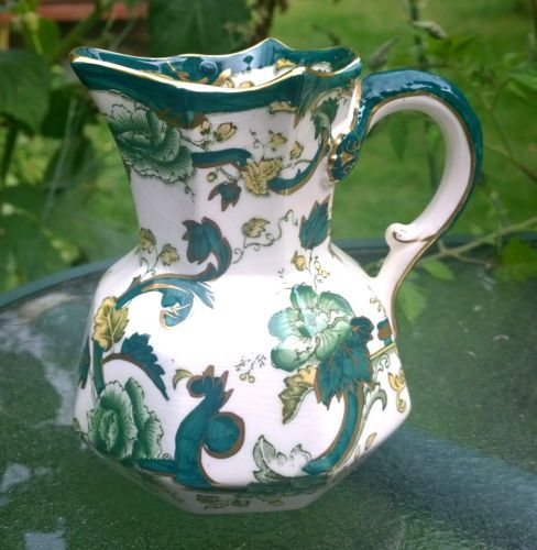 Vintage British Mason S Ironstone Chartreuse Jug 14cms High Light Crazing In Pottery