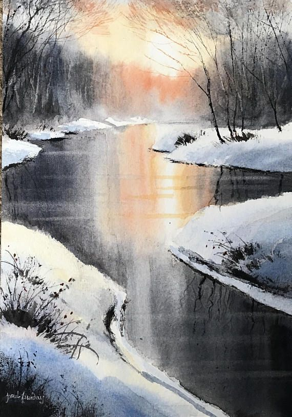 Summer River This Is An Original Watercolour Painted By Me On Saunders Waterford Watercolour Paper 300 Lbs In Wei Winter Painting Winter Scenes Water Painting