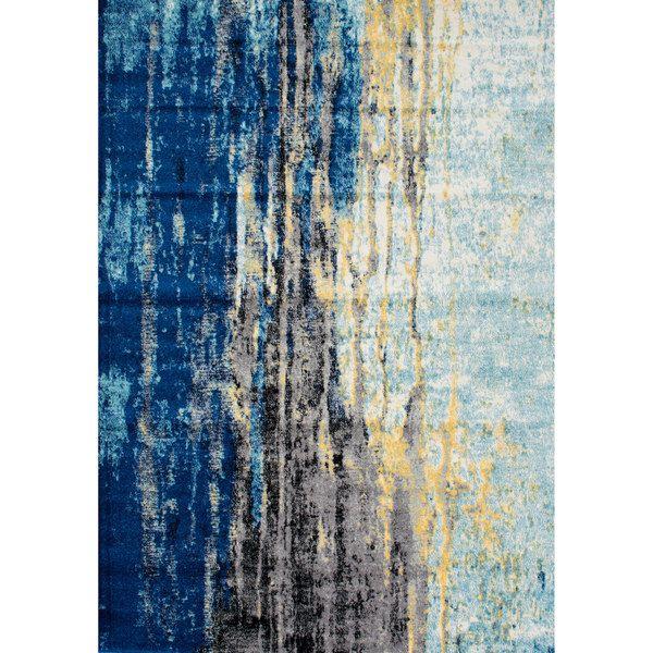nuLOOM Modern Abstract Vintage Blue Rug (4' x 6')