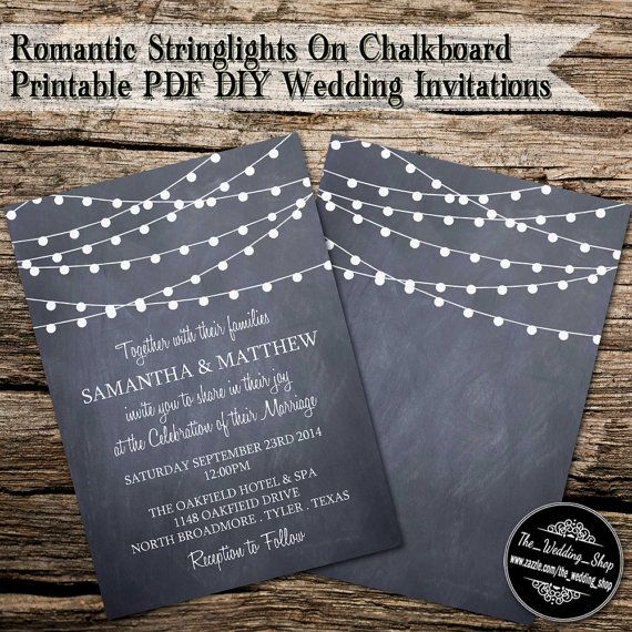 5 x 7 Romantic String Lights On Chalkboard by WeddingShopTM, $20.00