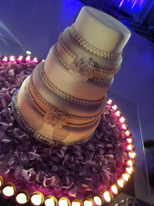 Wedding Cake Table Decor, love the candles all the way around