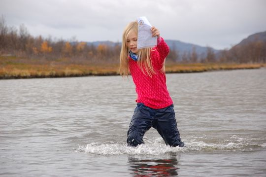 Kids fording in Finnmark, Norway