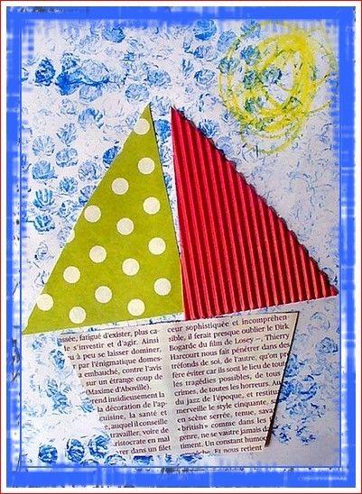 Trois pièces du bateau à assembler pour Charlie sur un fond fait avec l'empreinte de papier bulle.... Deuxième participation au défi de Vassilia sur la mer, son blog ici.