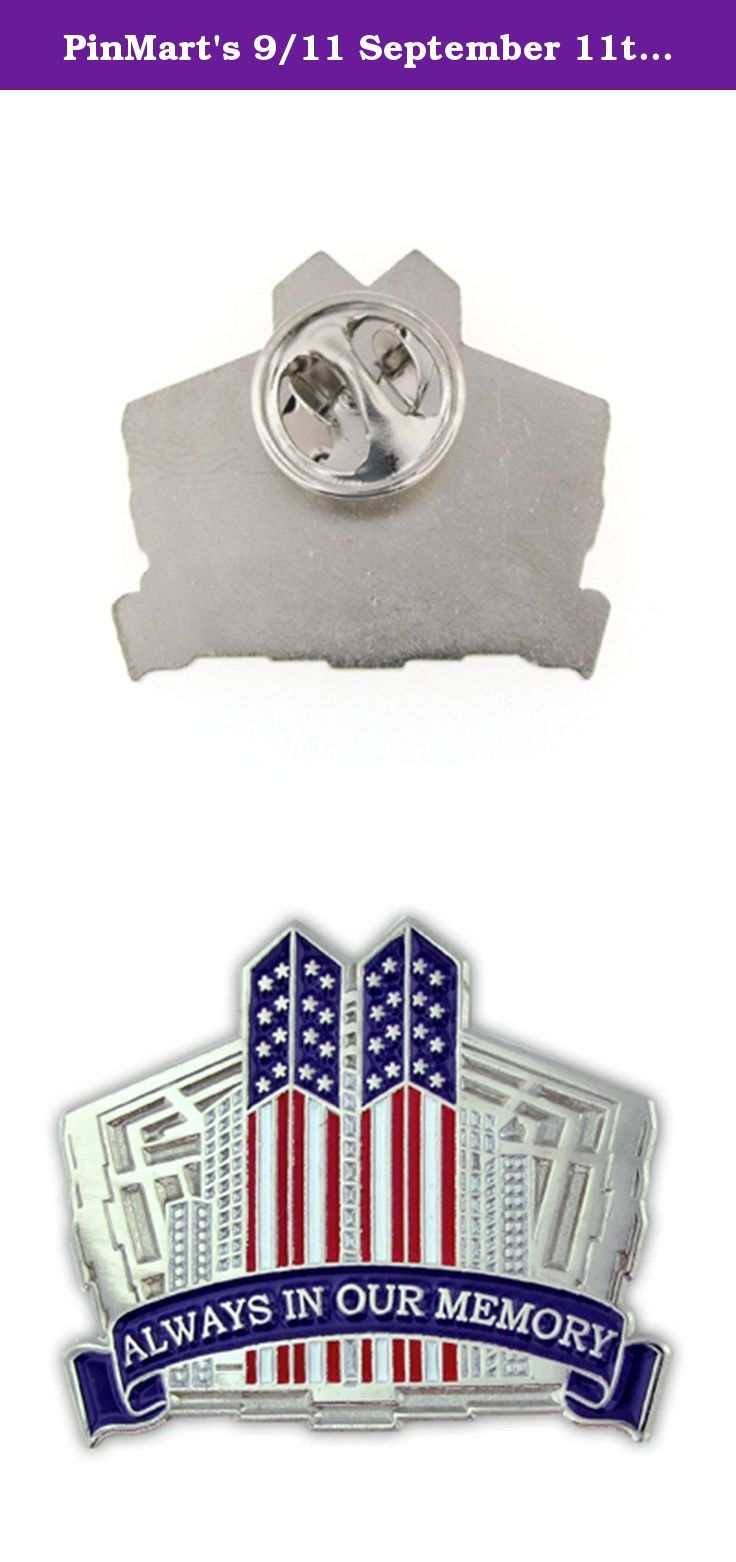 "PinMart's 9/11 September 11th Always in our Memory Twin Towers Lapel Pin. 9.11 Always in our Memory 1-1/8"" Pin. Commemorating America's strength of overcoming the tragedy and terror of September 11th to our country and the Twin Towers. The effects of 9-11 still live in all our lives even today. 9-11-2001 is ""Always in our Memory"". A perfect pin of reflection and a tribute to the twin towers and the pentagon. Nickel plated with beautiful enamel representing our Red, White and Blue. Each…"