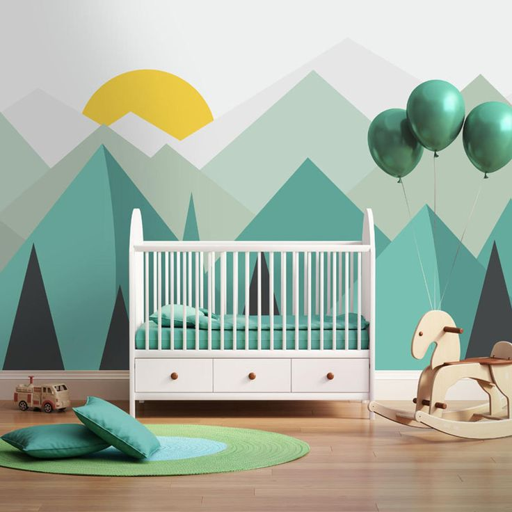 Hand Painted Mint Green Geometric Nursery Children