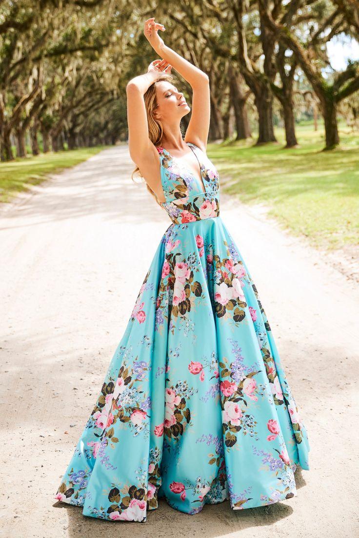 Sherri Hill – 52909 Floral Print Deep V-neck A-line Dress