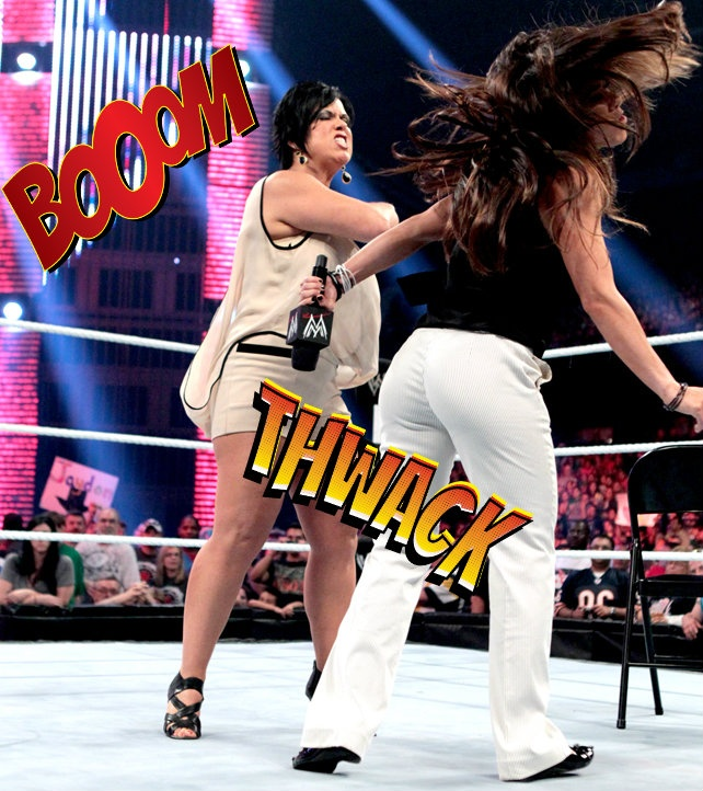 Vickie Guerrero delivers the Diva slap of the month on Monday Night Raw to Raw GM AJ Lee.