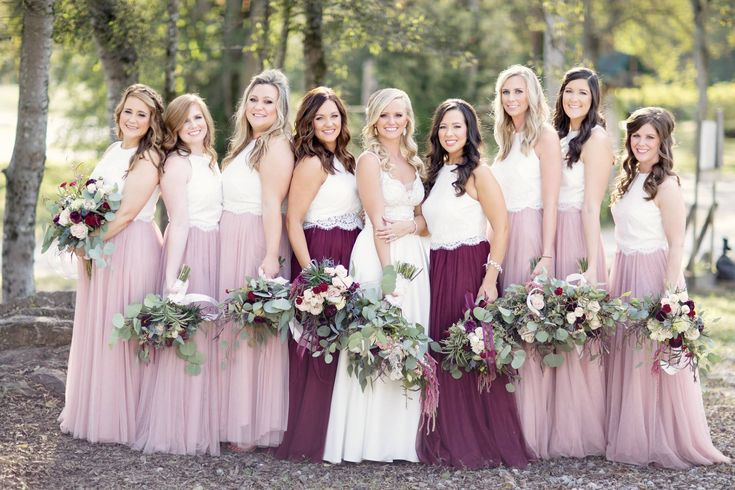 blush, burgundy and cream bridesmaid bouquets by www.CreationsbyDebbie.net