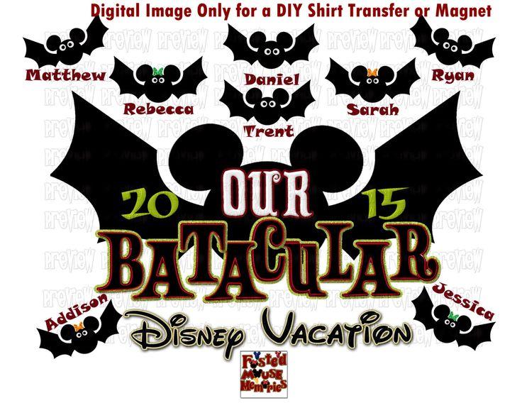 Printable Bat Family Disney Halloween  Shirt Transfer or Magnet DIY Disney Shirts  Matching Family Disney Shirts Cruise Door Magnet by FrostedMouseMemories on Etsy https://www.etsy.com/listing/249159966/printable-bat-family-disney-halloween