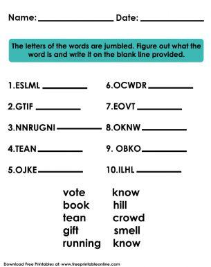 Jumbled Words Kids Worksheet Jumbled Words Word Puzzles For Kids Jumble Word Puzzle