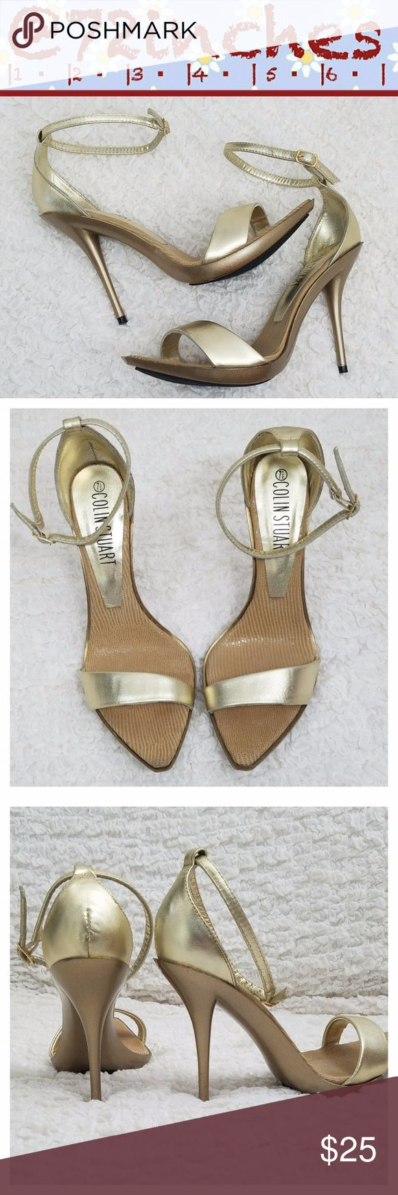 """Colin Stuart Strappy Platform Stilettos Super sexy gold leather sandal has a pointed toe cushioned food-bed with a varying width front strap and adjustable ankle strap. 5"""" stiletto heel with .5"""" platform Colin Stuart Shoes Heels"""