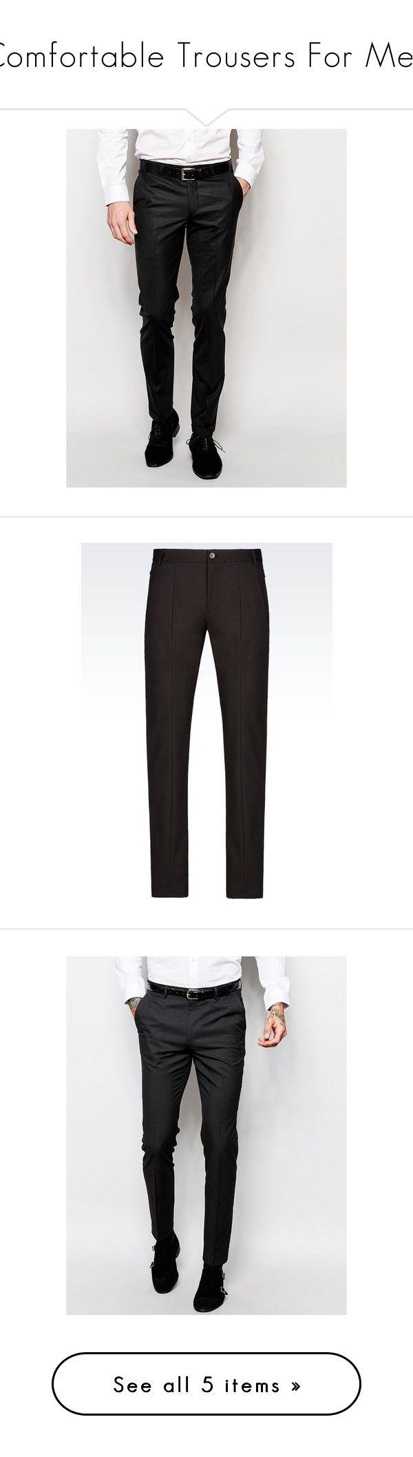 """Comfortable Trousers For Men"" by kirangranite on Polyvore featuring men's fashion, men's clothing, men's pants, men's dress pants, men, pants, black, mens skinny fit dress pants, mens pants and tall mens dress pants"