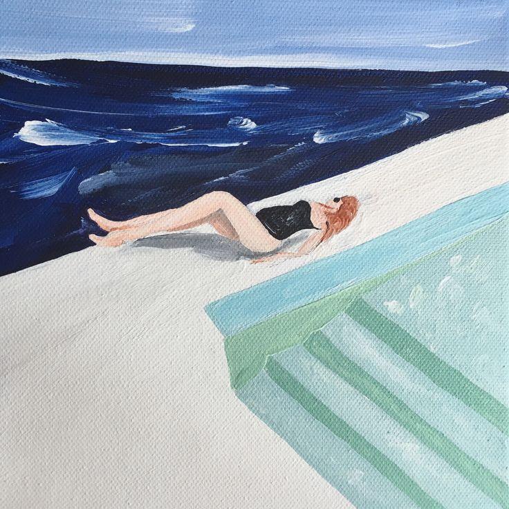 """""""Bord de piscine"""" – Acrylique sur toile, 20x20 cm, 2017"""