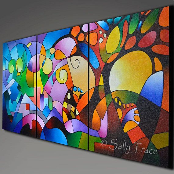 Original paisaje geométrico abstracto pintura pintura de