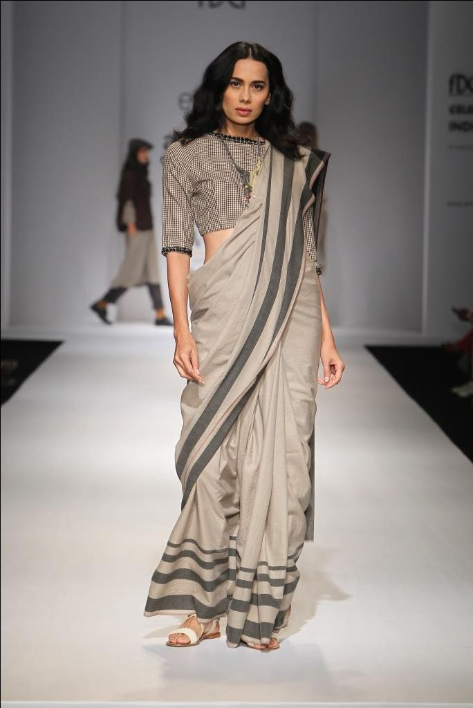 plain border stripped saree with checkered blouse by eka