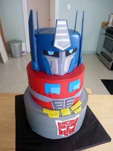 Optimus Prime Transformers Cake! Jacob wants a Transformer birthday this year.
