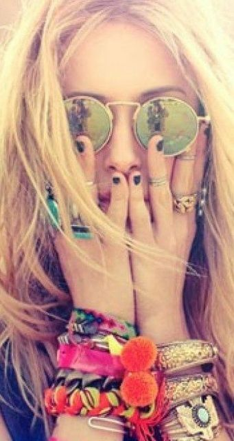 Boho festival jewellery. Layer up those rings!