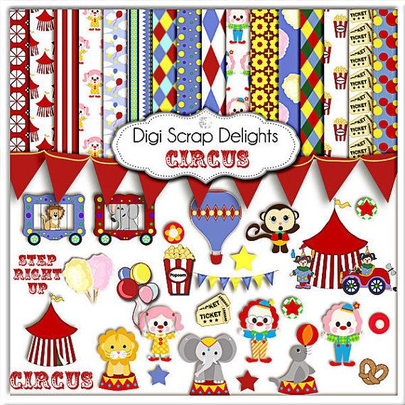 For a summer birthday for a preschooler or toddler: Circus theme! So fun and easy: decor in primary colors is easy to find and you can use this set for DIY invitations, favors, decor. Print yourself or send to Staples! Circus Clip Art,  Circus Animals, Scrapbook Kit, Clowns, Monkey, Invite, Instant Download, Babys First Birthday Ideas