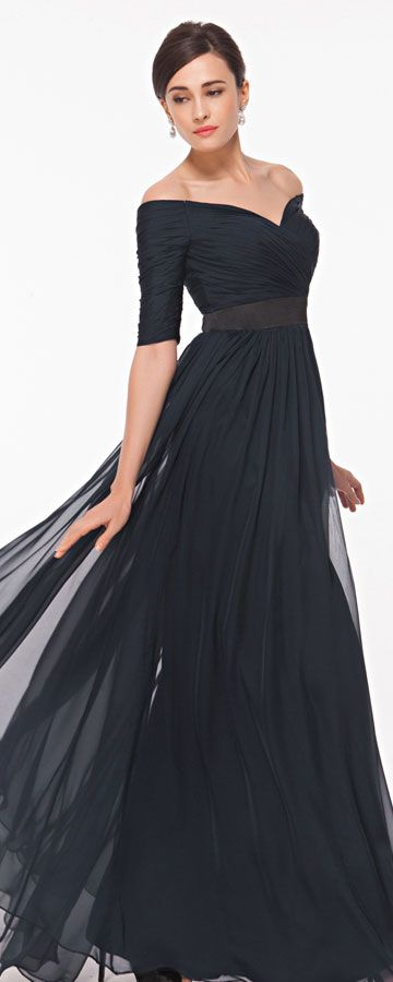 Navy blue off the shoulder evening dresses with sleeves formal dresses long prom dress plus size