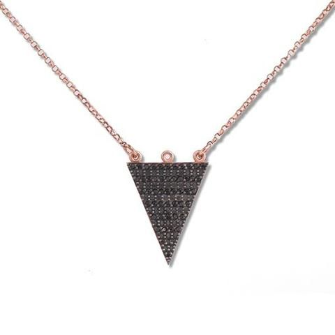 Short Rose Gold Plated Silver Necklace With Black Cubic Zirconia Triangle - Anthos Crafts - 1