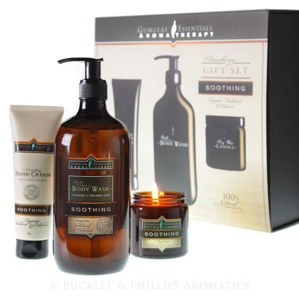 Gumleaf Soothing Aromatherapy Gift Pack by Buckley and Phillips is a gentle blend of warm citrus with earthy and woody base notes that calm the mind and uplifts the spirits. This product is made in Australia and scented with only essential oils. This fragrance gift set includes: 1 x 75ml Essential Oil Hand Cream Soothing 1 x 500ml Essential Hand & Body Wash Soothing 1 x 100g Essential Mini Soy Candle Soothing  Offer Price: $59.95 $̶6̶9̶.̶9̶5̶
