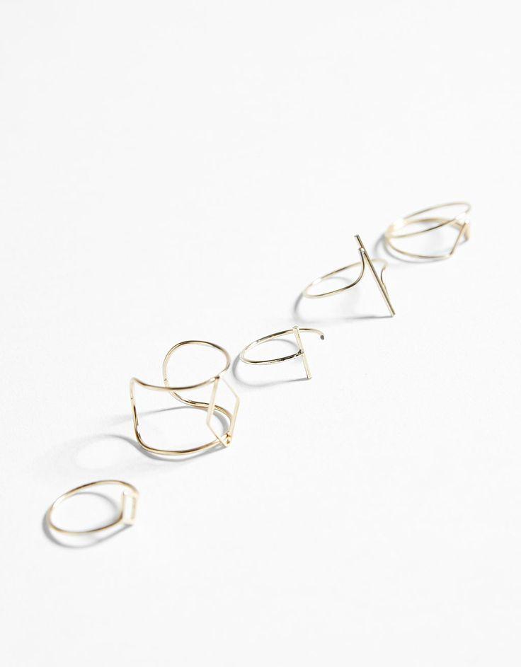 Bershka Colombia - Set de 5 anillos geométricos