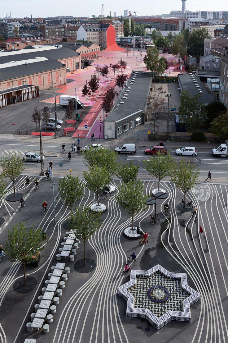 Copenhagen's Superkilen Urban Park by BIG + Topotek1 + Superflex (Photo: Iwan Baan)   Bustler