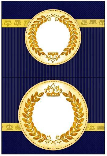 Corona Dorada en Fondo Azul: Etiquetas para Candy Bar de Bodas para Imprimir Gratis.