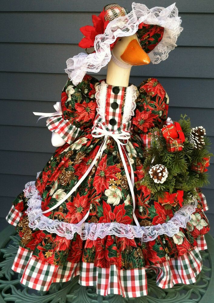Goose Outfit A Country Christmas Goose Clothes Designed By Linda Handcrafted Traditional Chris In 2020 Goose Clothes Christmas Goose Country Christmas