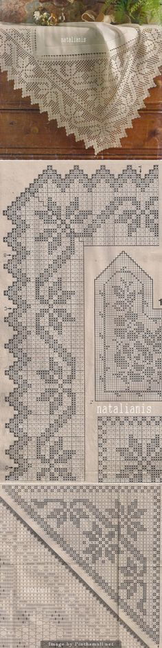 Filet crochet edging, edging's corner, corner insert ~~ http://natalianis.livejournal.com/
