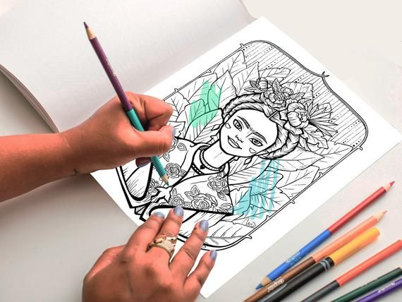 coloring pages adults Anti-stress coloring MARIE CURIE coloring pages for printing Digital coloring beautiful girl art coloring pages