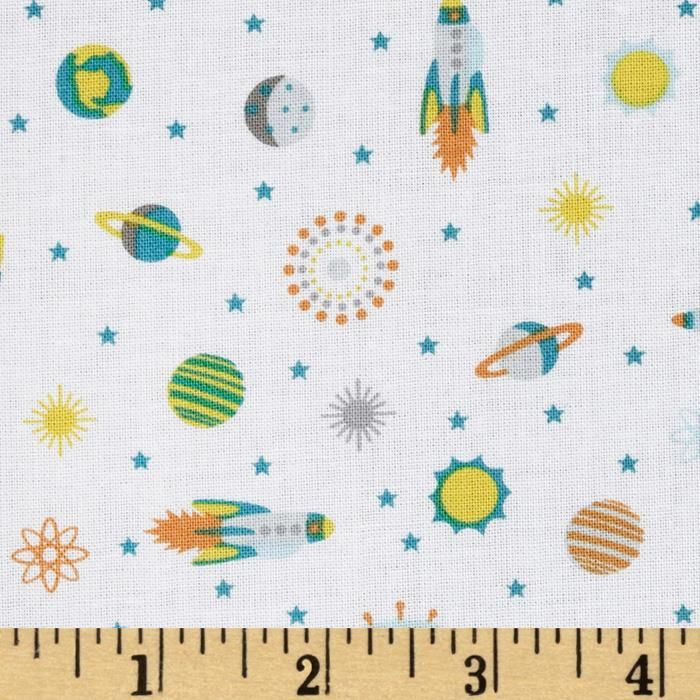 Atomic Bots Tiny Ships White from @fabricdotcom  Designed by Silvia Dekker for Wilmington Prints, this cotton print fabric is perfect for quilting, apparel and home décor accents. Colors include grey, teal, orange and yellow on a white background.