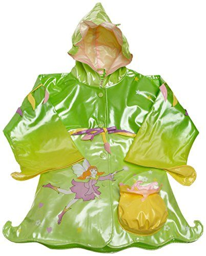 Toddler Rain Coats for Little Girls The Kidorable Little Girls raincoat is made with shiny/PVC with a comfortable polyester lining and features a pretty fairy print, a front pocket, and a hood for added protection from the elements when your child gets caught in the rain.