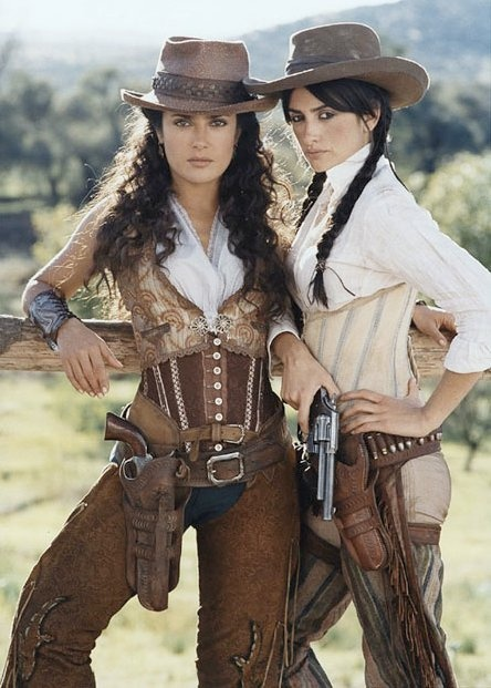 "Selma Hayek and Penélope Cruz in ""Bandidas"" (2006). I love the costumes in this movie so much. It's one of those ""guilty pleasures"" :/ Stylized 1850s."