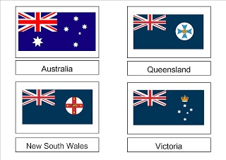 Free Printable: Australian Flags 3 Part Cards - For Australia Day