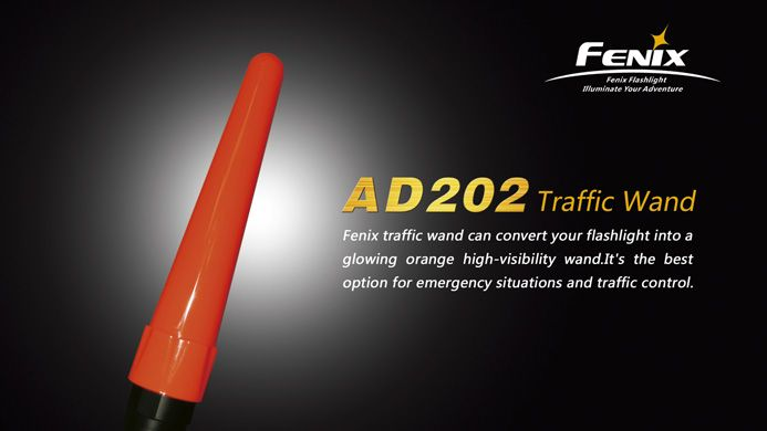 Fenix AD202 TK Traffic WandFenix's traffic wand will convert your flashlight into a glowing orange high-visibility wand. A perfect option for traffic control and emergency situations.FeaturesMade from PC 2805 plastic created by Bayer Matrial Science AGEasy to attach, easy to removeCompatible with the following Fenix models: TK10, TK11, TK12, TK20 and TA20