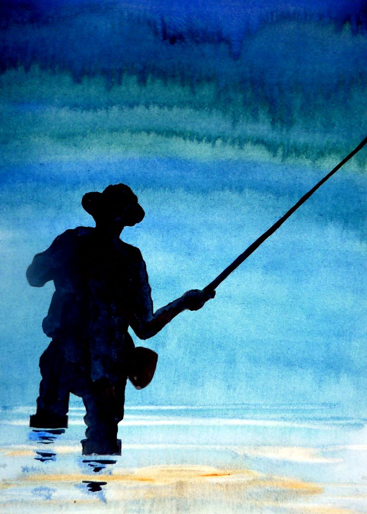Fly Fisherman, watercolor by Kim Attwooll