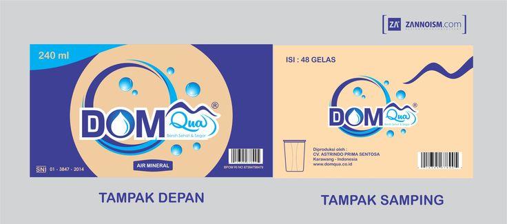 Desain perusahaan air minum dalam kemasan AMDK dalam bentuk cardboard / kardus DOM Qua Karawang by zannoism