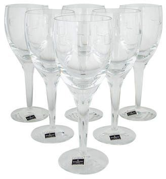 Waterford Crystal Set of 6 Geo Oden White Wine Glasses
