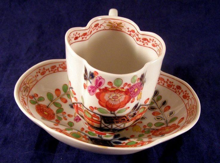 Antique Meissen Quatrefoil Cup Saucer Japanese Influenced Imari Pattern