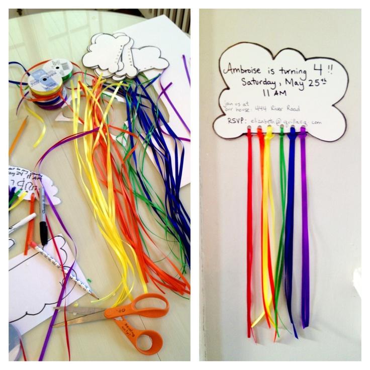 rainbow birthday party invitations
