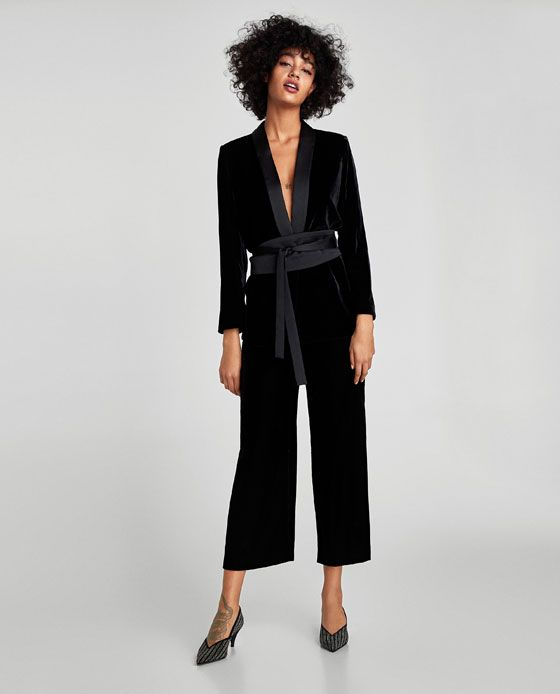 ZARA - WOMAN - VELVET JACKET WITH SASH BELT