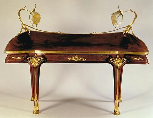 Louis Majorelle and Daum Frères / Orchidée Desk / c. 1903 / carved and inlaid mahogany, gilt bronze, and glass