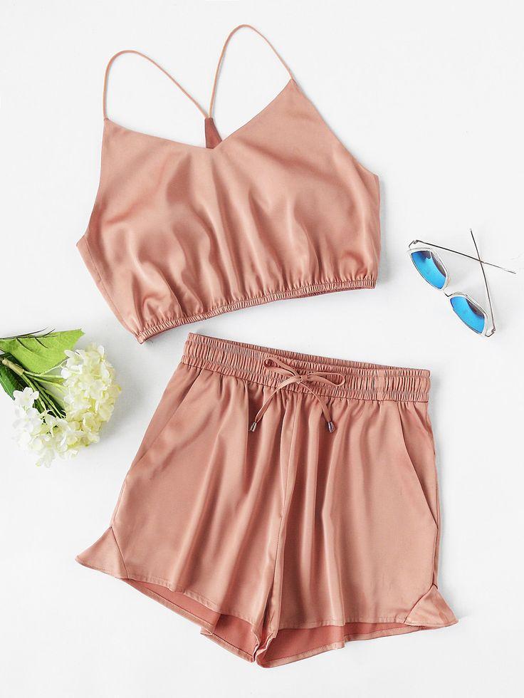 Y-Back Elasticized Crop Cami And Shorts Set