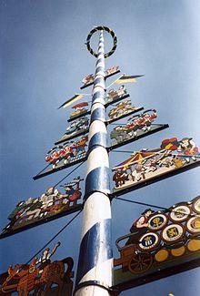 Maibaum (maypole) in Munich, Germany.