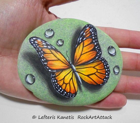 Reservado para Shane. Piedra pintura monarca por RockArtAttack