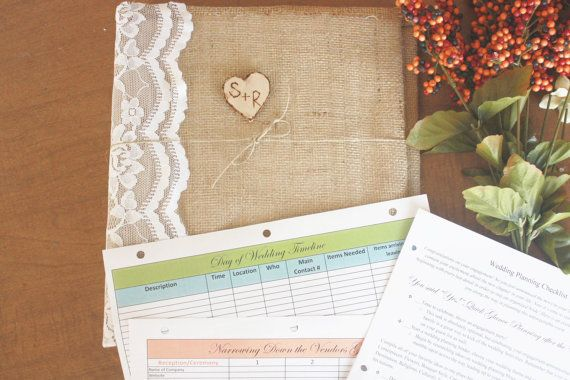 Planning a #rustic chic wedding? Consider buying a custom wedding planning book to get you through every step of the planning process