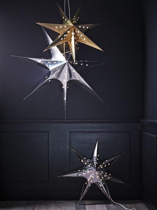 STRÅLA, lampada a sospensione, stella dorato/argentato